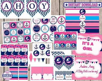 Ahoy, It's a girl baby shower Party Package, Instant download, easliy print from home, lil sailor, anchors away, nautical, girl