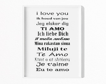 I Love You Print, Quote Art, Typography Wall Art, I Love You in Different Languages, Printable Poster, Digital Download, #363