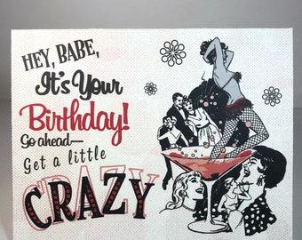 Birthday Card - Happy Birthday - Martini Girl - Rockabilly, Rock 'n' Roll, 1950s - Vintage Inspired Card, Digital Download or Print