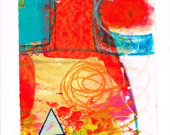house: original painting, mixed media, on paper on canvas (30x24 cm)