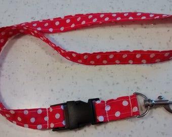 "Christmas gift ""Woman""... Long key fabric red and white polka dots"