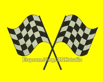 Racing Checkered Flag Embroidery Design - 5 Sizes - INSTANT DOWNLOAD
