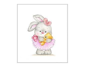 Bunny with Baby Teddy Bear Nursery Art Print, Children Wall Decor, Kids Wall Art, Baby Room Wall Art, Animal Illustration, Children Art