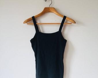 Black Tank Top, 1990s, Halter Top, Cotton