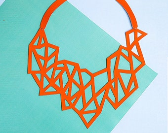 POLYGON. Bib necklace eco-leather, contemporary jewelry, handmade jewelery, modern necklace, gift for her