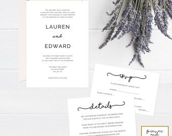 Wedding Invitation Template Download, Wedding Invitation Printable, Set, Wedding Invites, Suite, Instant Download, Editable, PDF, Simple 208
