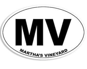Oval Mv Martha'S Vineyard Sticker (Massachusetts Mass Ma Island)