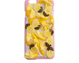 Bananas and chocolate Iphone 6 case / yellow/ pink/ Original design by Corn and Sorn made by Follow the white rabbit