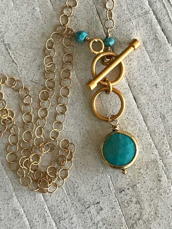 Zooey. 24k vermeil bezel set turquoise coin with double toggle short necklace. Handmade and OOAK by ladeDAH!