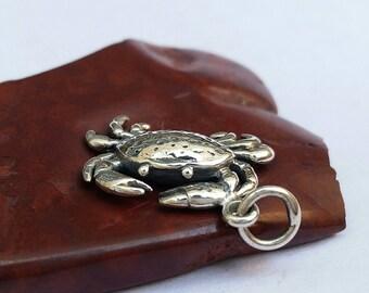 Crab Charm, Sterling Silver Crab Charm, Diy Crab Necklace, Sterling Silver Charm Bracelet, Ocean Jewelry, Crab Jewelry, Silver Crab Charm