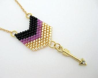 Arrow Pendant / Peyote Pendant /  Chevron Pendant /  Seed Bead Pendant in Black, Gold and Lilac  / Petite Necklace / Arrow Necklace