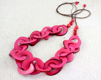 Pink Necklace - Pink Statement Necklace Set made of Tagua - Interlocking Necklace - Chunky Statement Necklace - Pink Beaded Necklace  1030
