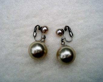 Vintage  Clip-on  Pearl Drop Earrings