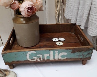 French vintage wooden vegetable trug with carrying holes and chippy paint detailing
