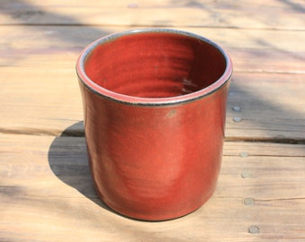 Pottery Utensil Holder Rusty Red Glaze NC Pottery