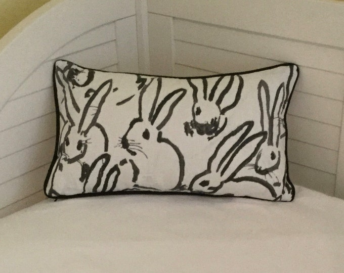 Groundworks Bunny Hutch Print in Black on Both Sides Designer Lumbar Pillow Cover with Your Choice of Piping Color