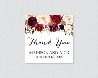 Printable OR Printed Wedding Favor Tags - Rustic Marsala and Pink Floral Square Favor Tags for Wedding, Personalized Wedding Favor Tags 0006