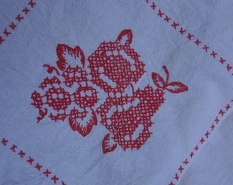 Vintage Redwork Tablecloth / Hand Embroidered Turkey Red Cloth