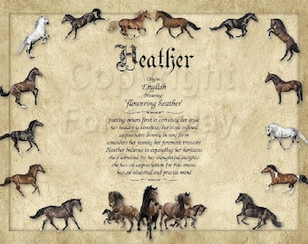 Horse Lover's Personalized Name Meaning Print