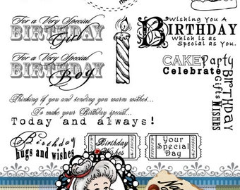 Birthday set 2 Word Art Sentiments Digital Digi Instant Download ID:NV-WA0015 By Nana Vic