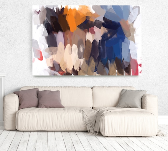 """The Color Movement 14, Abstract Painting Modern Wall Art Painting Canvas Print Art Modern Navy Blue Orange  Green up to 80"""" by Irena Orlov"""