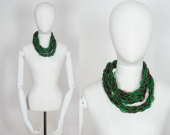 Handmade Scarf / Crochet Scarf / Infinity Scarf / Crochet Necklace / Statement Necklace / Dark Infinity Chain Scarf Necklace / Chain Scarf