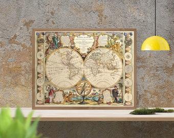 Antique map of the two hemispheres, 1755, large map,fine reproduction, antique decor, fine art print