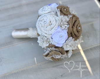 Vintage Style Burlap & Lace Bouquet, Handmade Ivory and Brown Roses, Shabby Chic Wedding, Burlap and Lace Roses, Alternative Wedding Bouquet