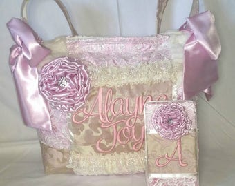Custom Handmade Vintage Style Diaper Bag Blush Pink Matching Wipe Case Lace Ruffles Satin Bedazzled Large Bows Pockets Jacquard elegant nice