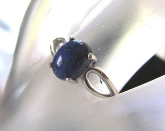 8x6mm Natural Lapis Lazuli Cabochon Sterling Silver Ring