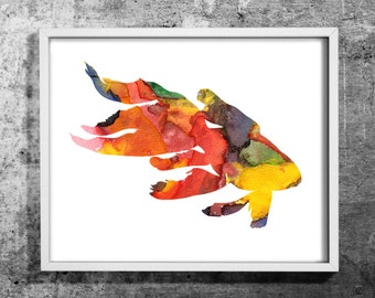 Fish03M design  watercolor art print , Watercolor painting , Decorative fish art , Colorful wall decor , INSTANT DOWNLOAD