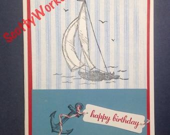 Happy Birthday card, birthday card for man, birthday card for boat lover  B2-4