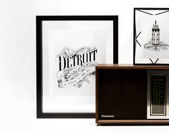 DETROIT Typography Poster - Detroit art souvenir black and white poster hand drawn vintage poster hand made michigan art