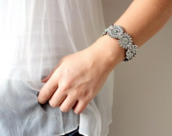 Silver Leather Flower Bracelet with tiny gems