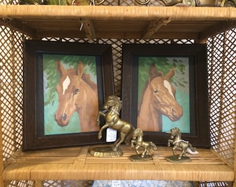 Set of 2 Vintage Framed Paint by Number - Horse Portraits