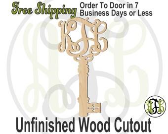 Key Monogram - 990003M3- Personalized Cutout, 3-Letter Monogram , unfinished, wood cutout, laser cut wood, wood cut out, wooden, Door Hanger