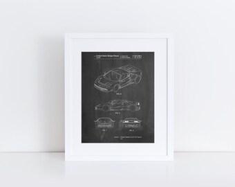 Sports Car Patent Poster, Car Poster, Exotic Sports Car, Teen Boy Wall Art, Mechanic Gift,  PP0466