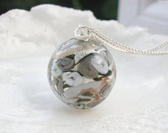Gray Necklace In Murano Glass