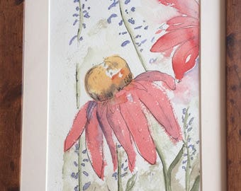 Echinacea flower with delphiniums