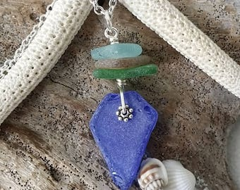 Handmade in Hawaii, Genuine surf tumbled  sea  glass necklace. wire wrapped sea glass necklace jewelry.