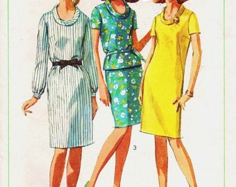 60s Womens Mod One or Two Piece Sheath Dress Simplicity Sewing Pattern 6861 Size 14 Bust 34 Vintage Sewing Patterns