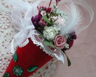 Vintage Style Rose Bouquet Tussie Mussie Valentine's Day Gift