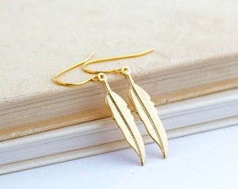 Mother Gift - Long Gold Feather Dangle Earrings For Woman