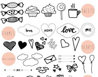 Love clip art / Wedding clip art / Scrapbook supplies / Black and white / Hand drawn doodle clip art / Digital hand drawn