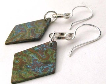 Verdigris patina earrings. Sterling silver & copper. Diamond. Organic mixed metals. Jewelry for women. Gift under 50.  Buffalo for Hire.