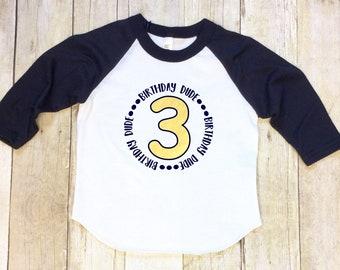 Boys Third Birthday Shirt-Boy 3rd Birthday Raglan-Three Birthday Shirt-Birthday Dude Shirt-Navy Blue Sleeve-Blue Sleeve Shirt-Made in USA