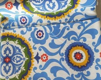 Throw pillow in bohemian design, blue, yellow, orange floral hippie accent pillow