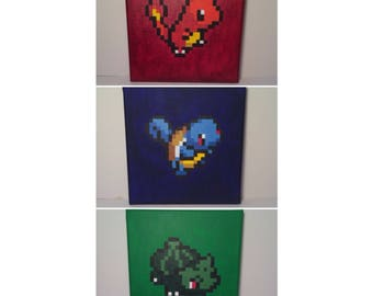 Pokemon Pixel Paintings *Red/Blue Starters: Charmander, Squirtle, Bulbasaur*