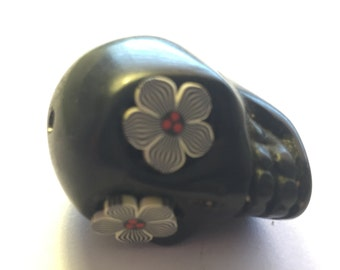Sugar Skull Bead Extra Large Black Bead or Pendant with Black and White Flower Eyes