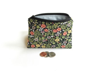 Floral fabric change purse, zipper pouch, coin bag clutch gift for her